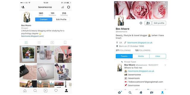 iPhone Instagram and Twitter Screenshots