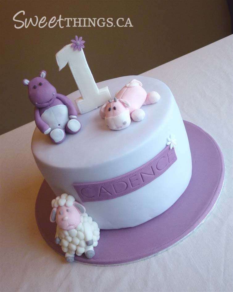 1st Birthday Cake Pretty Purple