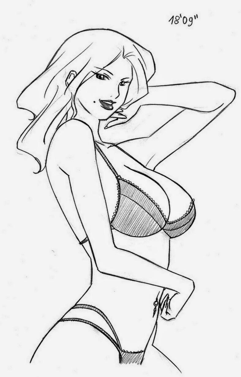 Sensualidad femenina trazada Mujeres-dibujadas-a-lapiz-faciles%2B(6)