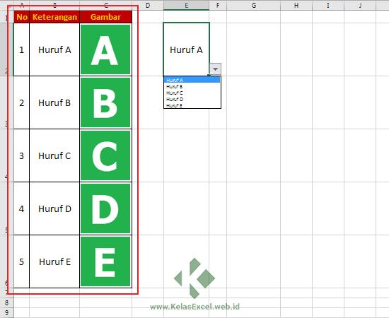 Rumus Excel untuk Picture LookUp atau Mencari Gambar otomatis pada Tabel Excel