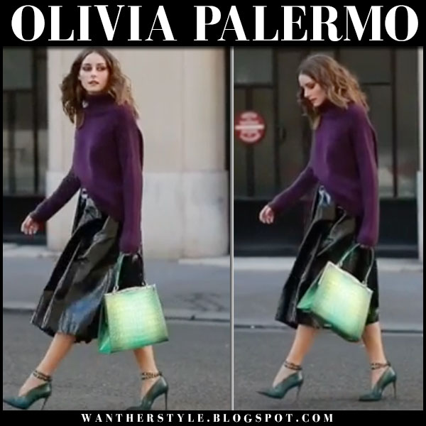 Olivia Palermo in purple sweater, black midi skirt and green pumps jimmy choo lark fashion week style september 27