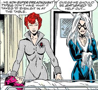 Viuda Negra y Gata Negra cuidan de Ojo de Halcón y Spiderman