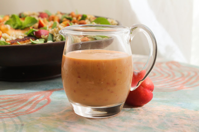 Food Lust People Love: Chili Peach Vinaigrette - Don't let the pale peach color of this lovely chili peach vinaigrette fool you. The flavor is tart, sweet and spicy, in my opinion, the perfect combination. Use it to dress your favorite salad or as a marinade for chicken or pork.