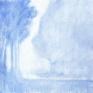 Winter Fog landscape painting monochromatic underpainting in ultramarine blue