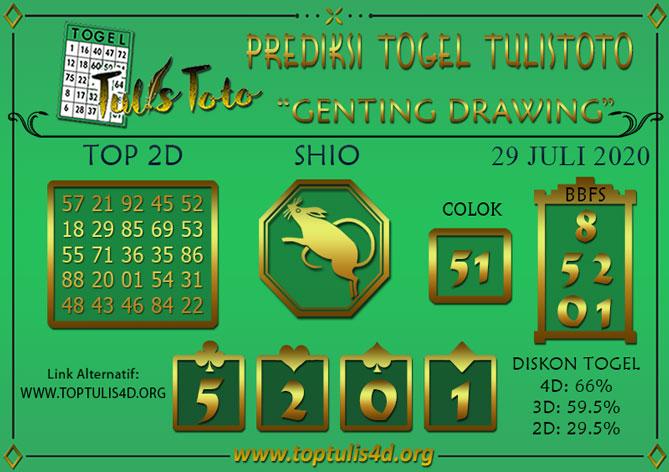 Prediksi Togel GENTING DRAWING TULISTOTO 29 JULI 2020