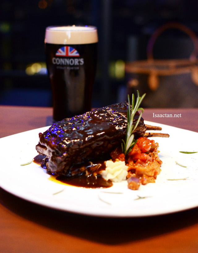 CONNOR's Braised Lamb Ribs With Ratatouille - RM68++ with 1 pint of CONNOR's Stout Porter
