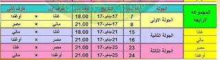 جدول مباريات مصر في أمم إفريقيا الجابون 2017