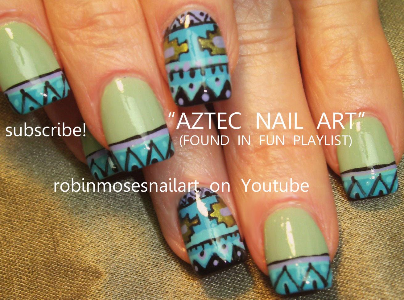 aztec nails, aztec nail art, aztec designs, mayan nail, southwestern ...