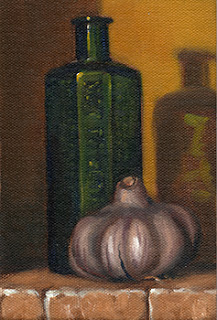 Oil painting of an antique green glass poison bottle beside a garlic bulb.