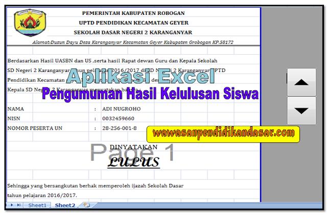 Aplikasi Cetak hasil pengumuman lulus dan tidak lulus siswa format Excel sederhana