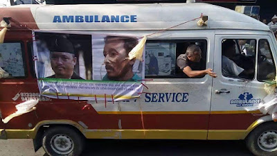 Ambulance that carries Barun Bhujel dead body