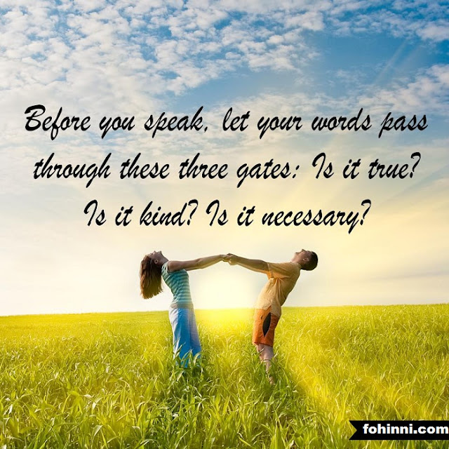 BEFORE YOU SPEAK, LET YOUR WORDS PASS THROUGH THESE THREE GATES:  IS IT TRUE ? IS IT KIND ? IS IT NECESSARY ?