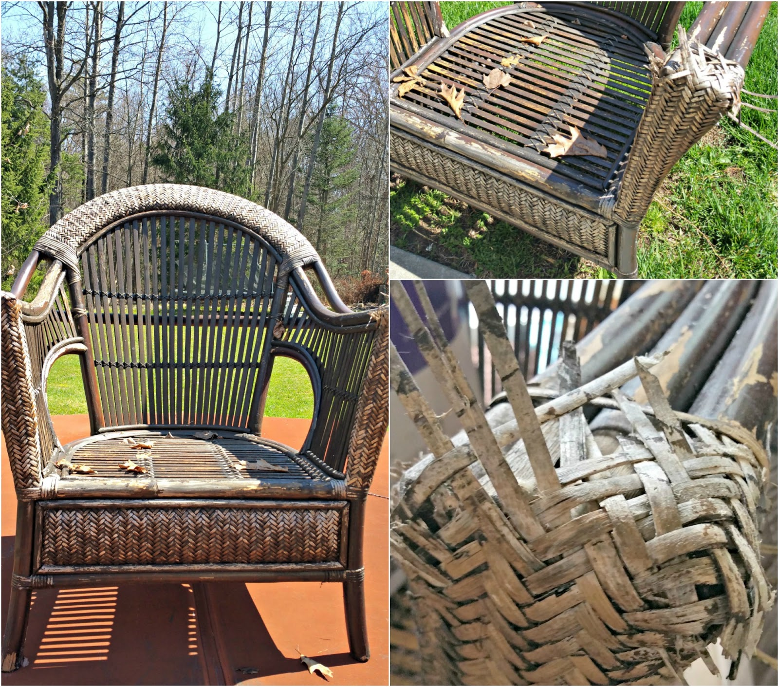 Then Hand Sanded The Wicker And Rattan To Smooth Off Any Rough Areas.  Leaving Some Remnants Of The Original ...