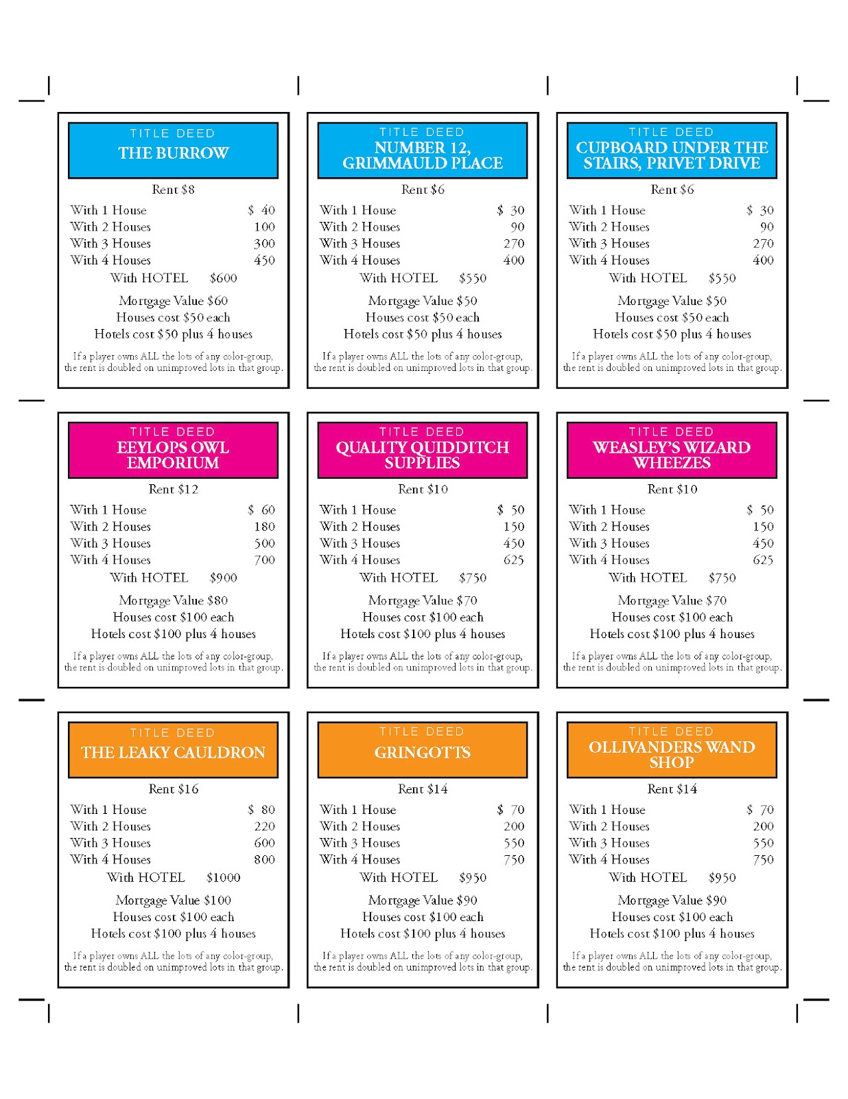 Trust Monopoly Cards Printable