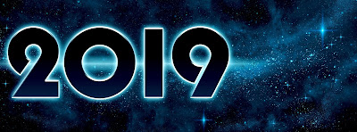 The number 2019 against a starry or outer space background.