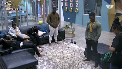 BB Naija housemates TBoss, Bally, Bassey, Debbie Rise up for eviction