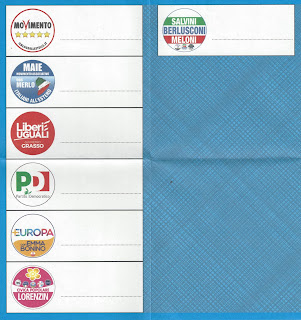Ballots for the Chamber of Deputies (red) and the Senate (blue) for Italians living in the USA.
