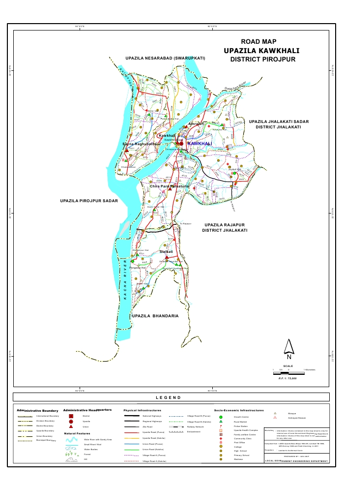 Kawkhali Upazila Road Map Pirojpur District Bangladesh
