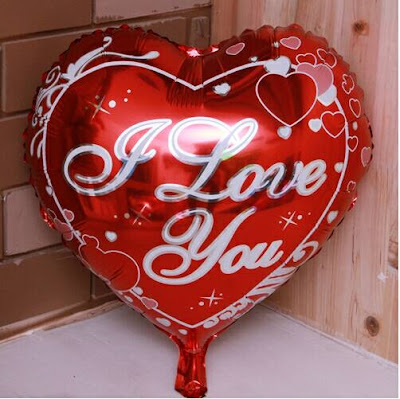 Balon Foil Hati Motif I LOVE YOU