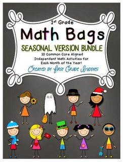 http://www.teacherspayteachers.com/Product/Math-Bags-for-1st-Grade-Seasonal-Bundle-1190895