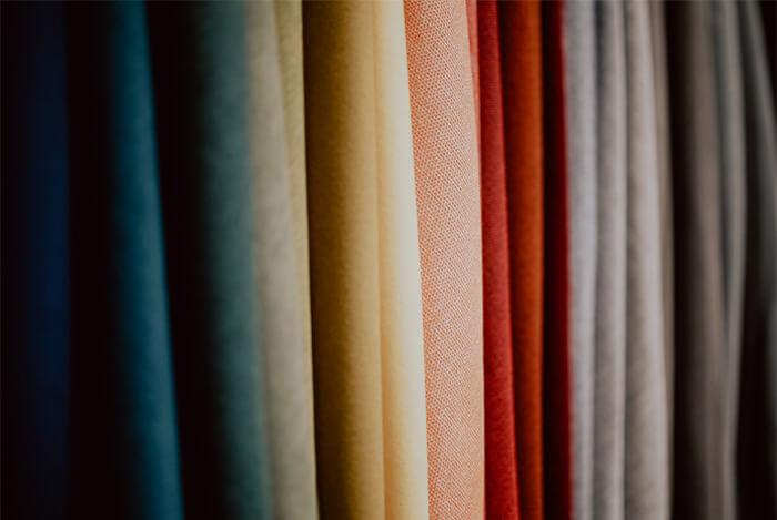 Foto di tessuti con colori di gradazione diversa