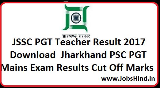 JSSC PGT Teacher Result 2017