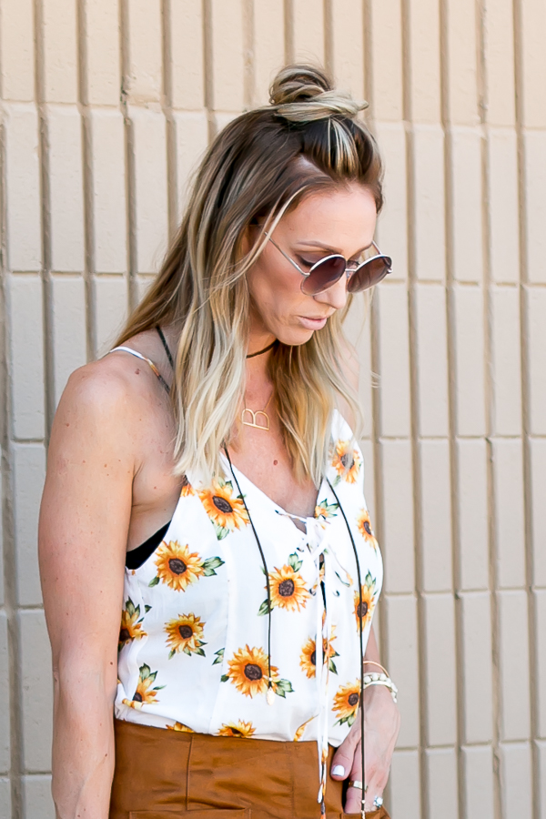 round sunglasses top knot