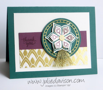 Stampin' Up! Eastern Beauty Thank You Card ~ Eastern Palace Suite ~ 2017-2018 Stampin' Up! Annual Catalog ~ www.juliedavison.com