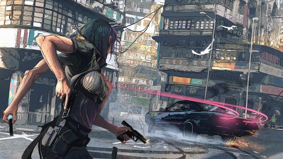 Cyberpunk, Girl, Guns, Car, Sci-Fi, 4K, #4.70