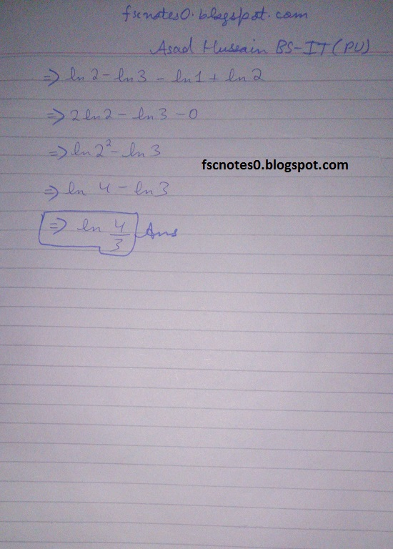 FSc ICS Notes Math Part 2 Chapter 3 Integration Exercise 3.6 question 29 - 30 by Asad Hussain 2