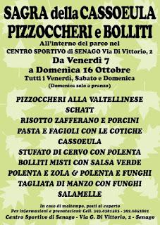 Sagra della Cassoeula, dei Pizzoccheri e dei Bolliti 14-15-16 ottobre Senago (MI)