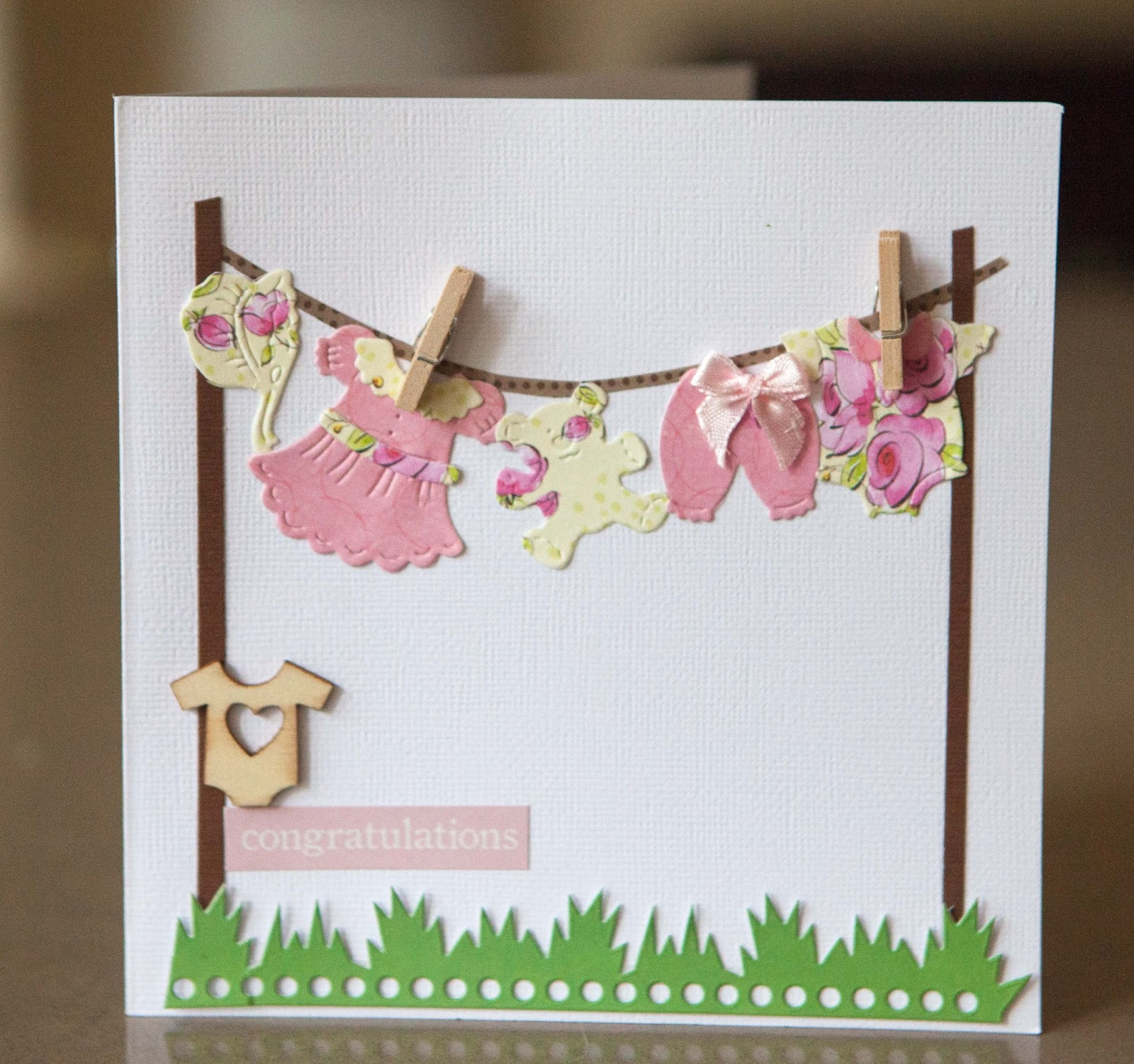Creative Mayhem Baby Girl Cards with Baby clothes on the washing line