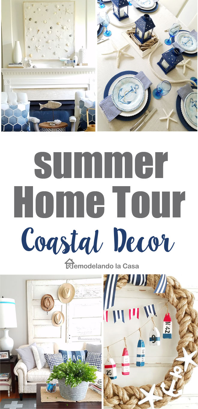 diy coastal decor - Summer decorating - summer wreath - mantel