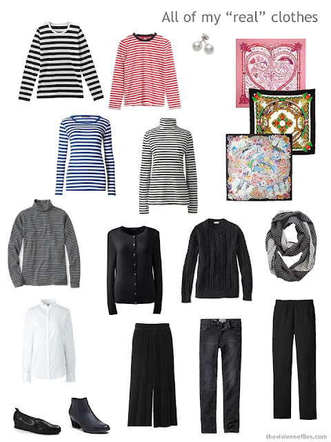 travel capsule wardrobe in black with lots of stripes, for cool weather