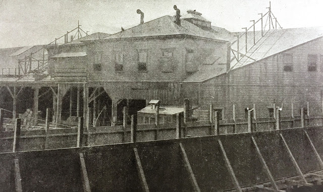 "Chinese Detention Shed at the Pacific Mail Steamship Company Wharf, c. 1903 Published in ""A Statement for Non-Exclusion,"" by Patrick J. Healy and  Ng Poon Chew (San Francisco, 1903) California Historical Society"