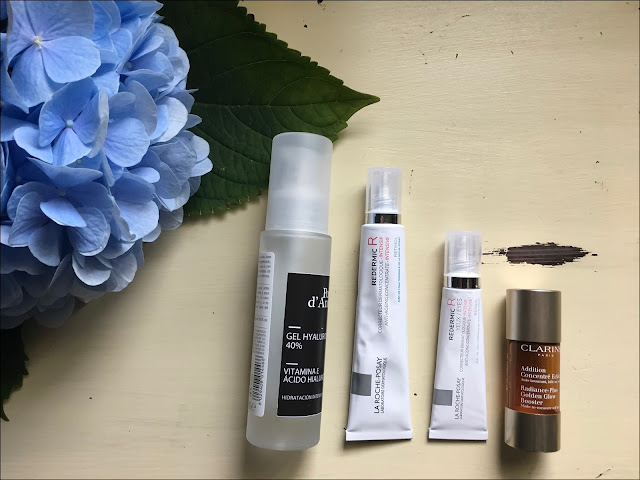 My Midlife Fashion, Hyaluronic gel, La roche-posay Redermic R eye cream, La roche-posay redermic r face cream, clarins facial tan serum