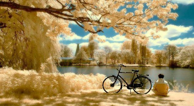 Homem sentado no campo olhando o rio sentado ao lado de uma bicicleta