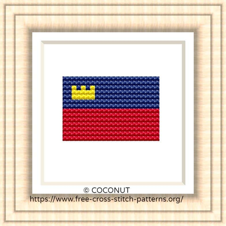 NATIONAL FLAG OF LIECHTENSTEIN CROSS STITCH CHART