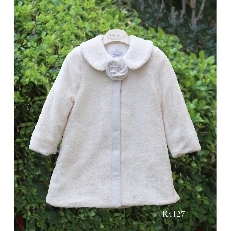 White fur baptismal coat for girl  K4127