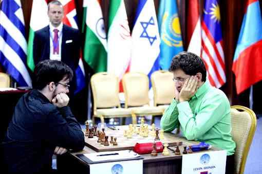 Le Français Maxime Vachier-Lagrave face à l'Arménien Levon Aronian - Photo © Anastasia Karlovich