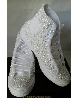 b5410ac3624 Pearls beaded embellished wedding bridal shoes sneakers lace up detail wedge  wedding sneakers mostly desired