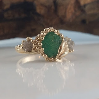 Rough Diamond Engagement Ring, Emerald Wedding Ring, Gold Emerald Engagement Ring, Diamond Engagement Ring, Rough Emerald Engagement Ring, Emerald Wedding Ring,Stack able Emerald Ring, Dawn Vertrees