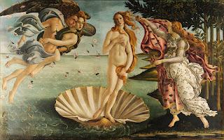 Η Γέννηση της Αφροδίτης (περ. 1485). Ο Μποττιτσέλλι απεικονίζει την Αφροδίτη να στέκεται σε ένα κοχύλι που επιπλέει, ενώ ο Ζέφυρος και η Αύρα την οδηγούν στη στεριά, όπου μία από τις Ώρες την περιμένει για να την καλύψει με ένα μανδύα.