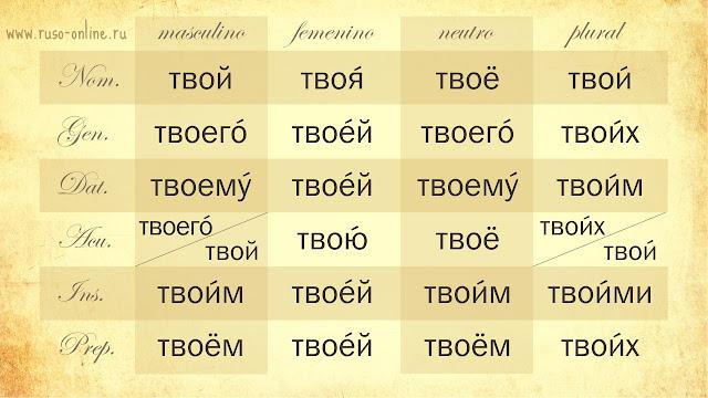 Declinación del pronombre ruso твой (tuyo)