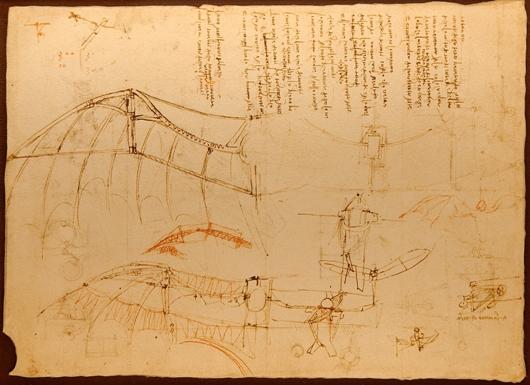 Design for a flying machine Codex Atlanticus f.858r