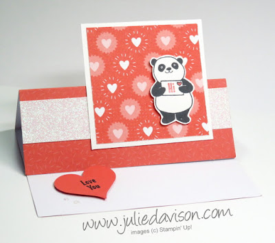 Easel Card VIDEO Tutorial ~ Stampin' Up! Party Pandas Valentine Easel Card ~ 2018 Sale-a-Bration ~ www.juliedavison.com