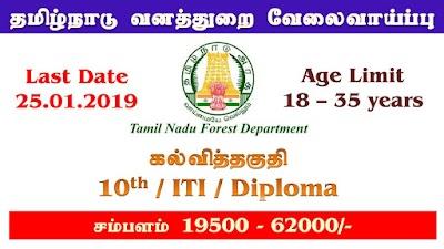 TN Forest Department New Job – 10th, ITI, Diploma