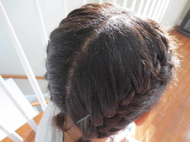 Two french or dutch braids on short hair with bobby pins