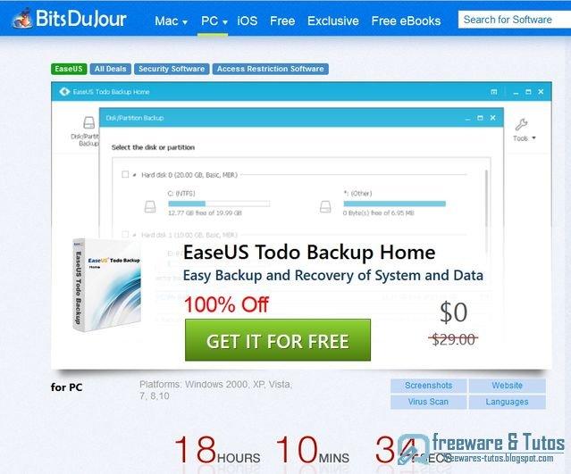Offre promotionnelle : EaseUS Todo Backup Home 9.1 gratuit !