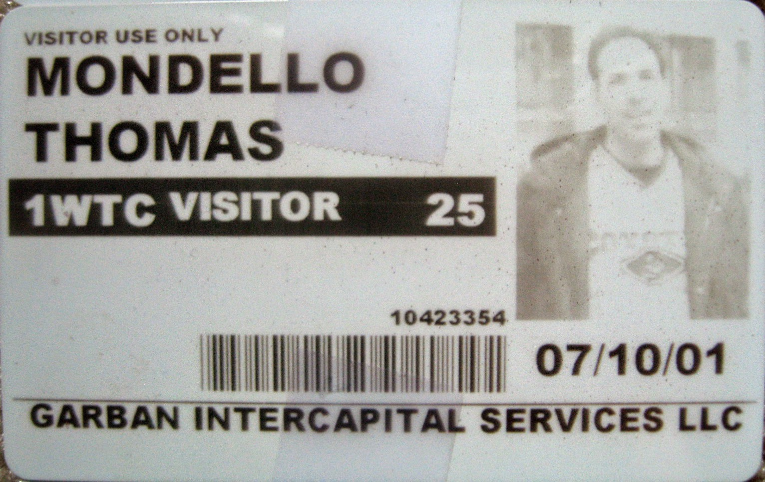 Tommy Mondello World Trade Center pass July 10, 2001
